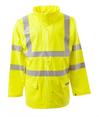 PORTWEST LTD FR41 SEALTEX FLAME HIGH VISIBILITY FLAME RETARDANT MEN'S JACKET, ONBODY FRONT PACKED HOOD