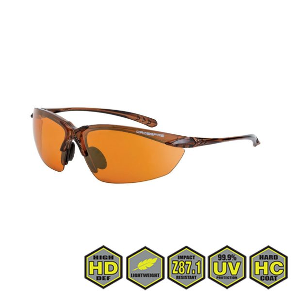 Radians Crossfire Sniper Safety Glasses, 91116 HD copper lens, crystal brown frame