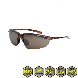 Radians Crossfire Sniper Safety Glasses, 9117 HD brown flash mirror lens, crystal brown frame