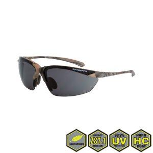 Radians Crossfire Sniper Safety Glasses, 9141 smoke lens, woodland camo frame