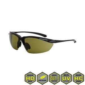 Radians Crossfire Sniper Safety Glasses, 9221 HD green lens, matte black frame