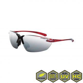 Radians Crossfire Sniper Safety Glasses, 9233 silver mirror lens, shiny black /crystal burgundy red frame