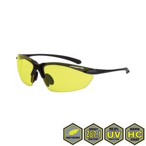 Radians Crossfire Sniper Safety Glasses, 925 yellow lens, matte black frame