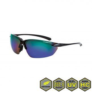 Radians Crossfire Sniper Safety Glasses, 9610 emerald mirror lens, shiny black frame