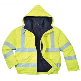 PORTWEST US773 BIZFLAME HIGH VISABILITY ANTI-STATIC FLAME RESSITANT INSULATED BOMBER JACKET, UNZIPPED