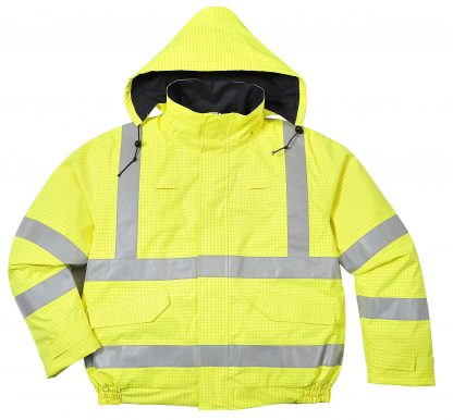 PORTWEST US773 BIZFLAME HIGH VISABILITY ANTI-STATIC FLAME RESSITANT INSULATED BOMBER JACKET, ZIPPED