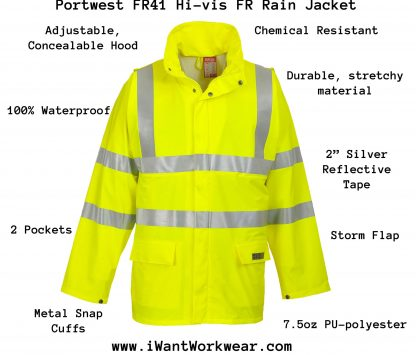 SEALTEX FLAME FR HI-VIS JACKET - FR41, yellow, infographic