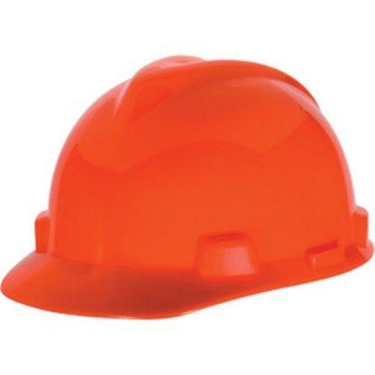 MSA V-Gard® Standard Slotted Cap w/ Staz-On® Suspension, Hi-Vis Orange