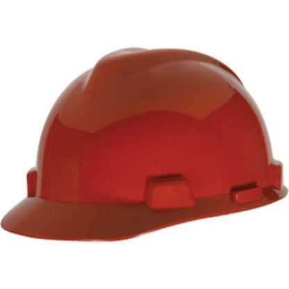MSA V-Gard® Standard Slotted Cap w/ Staz-On® Suspension, Red