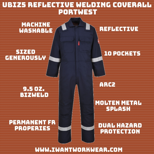 Protects against radiant, convective and contact heat. Protects against molten metal splash. 10 pockets Metal snap closure Elastic waist ARC: 2 UPF50+ Sun Protection Permanent FR Properties