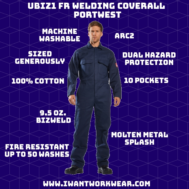 9.5oz Bizweld fabric (100% Cotton w/ FR finish) Dual hazard protection (radiant & convective heat) Protects against molten metal splash Guaranteed FR for life of garment (50 washes) Highly flexible Comfortable cotton material ARC2 UPF 50+