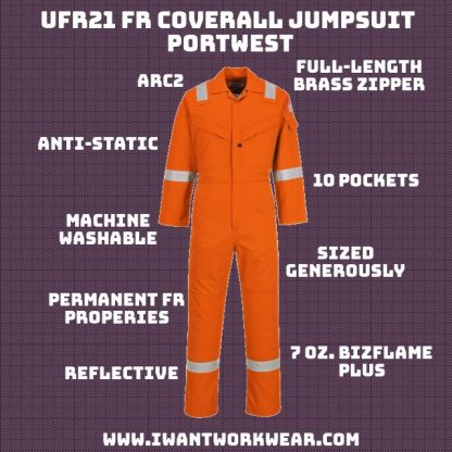 FR properties guaranteed to last garment lifetime (50 washes) FR properties will not fade overtime unless skin exposed Heavy-duty FR tape significantly increases visibility in low-light working conditions Super lightweight 99% cotton construction Anti-static Full-front brass zipper