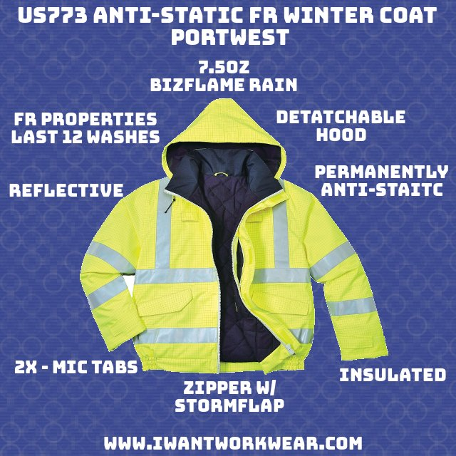 US773 Bizflame FR Winter Jacket, Yellow - Portwest - 7.5oz Bizflame Rain (98% Polyester, 2% Carbon Fiber) Permanently anti-static FR Properties last 12 machine washes Highly visible and reflective Breathable to prevent sweat Waterproof Chemical resistant finish to maintain FR and High Visibility properties. Full-length zipper with storm flap Fully insulated 2x - Mic tabs Detachable hood Velcro adjustable cuffs