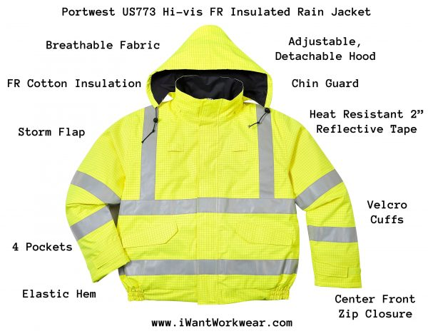 portwest US773 Bizflame High Visibility Anti-static Flame Resistant Insulated Waterproof Bomber Jacket, Infographic