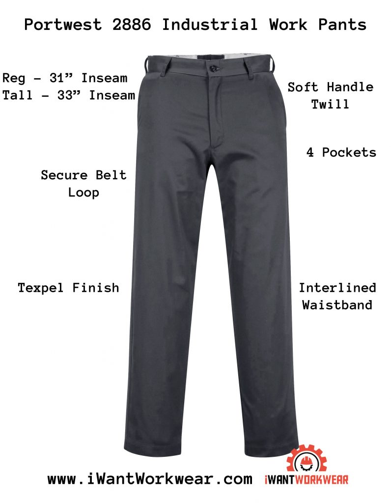 Portwest 2886 Industrial Work Pants, Charcoal Gray, iwantworkwear.com infographic