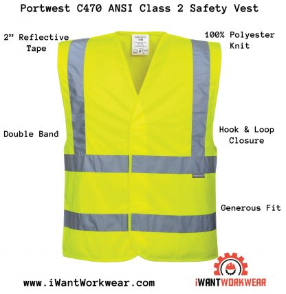 Portwest C470 ANSI Type R class 2 Safety Vest, iwantworkwear.com infographic