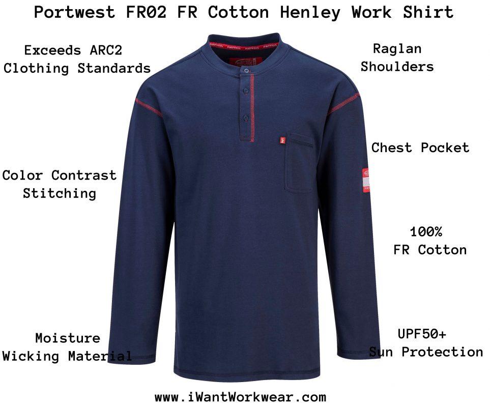 Portwest FR02 Flame Resistant Cotton Henley