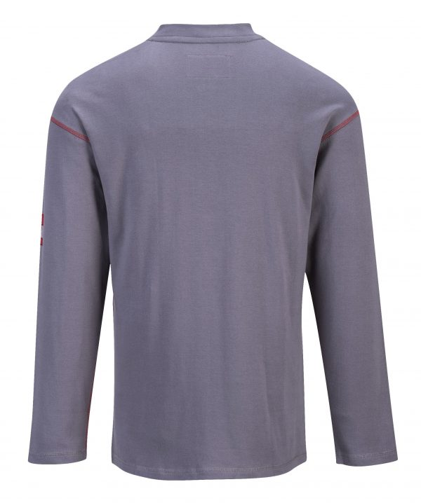 FR02 Bizflame Fire Resistant Button Down Work Shirt, Gray, Back