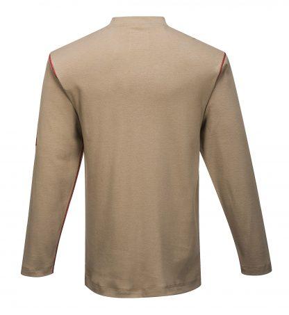 Portwest FR02 Flame Resistant Cotton Henley. khaki rear