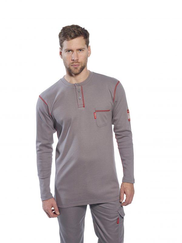 Portwest FR02 FR Cotton Henley Work Shirt, iWantWorkwear, Gray, Onbody, 10