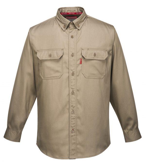 Portwest FR89 Bizflame 88/12 Flame Resistant Work Shirt, Khaki Front
