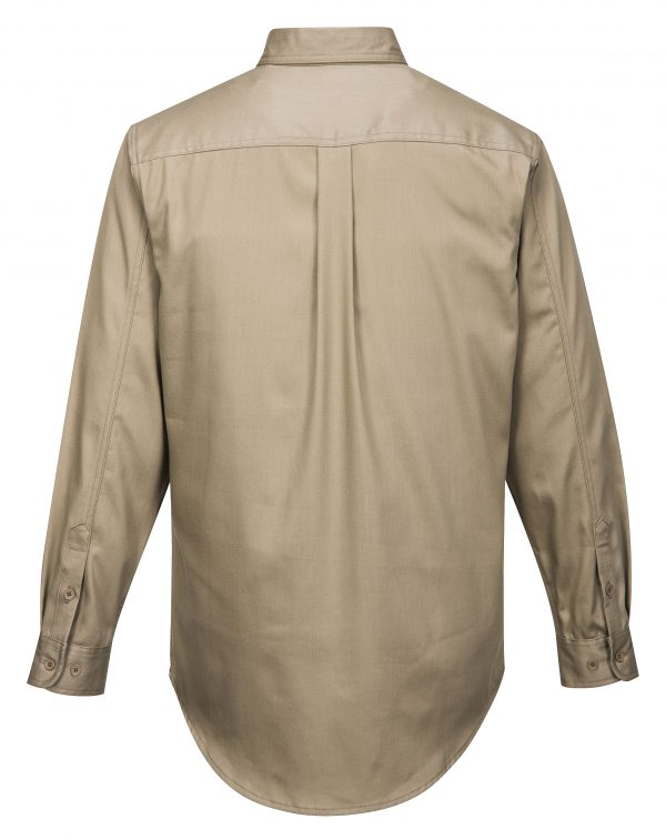 Portwest FR89 Bizflame 88/12 Flame Resistant Work Shirt, Khaki Rear