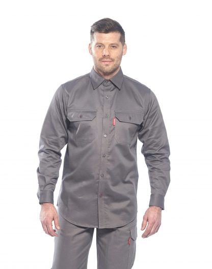 BIZFLAME 88/12 FR SHIRT - FR89, Gray, Front, Onbody