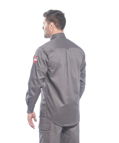 BIZFLAME 88/12 FR SHIRT - FR89, Gray, back, Onbody