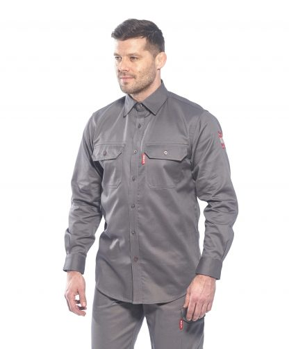 BIZFLAME 88/12 FR SHIRT - FR89, Gray, Front, Onbody 3