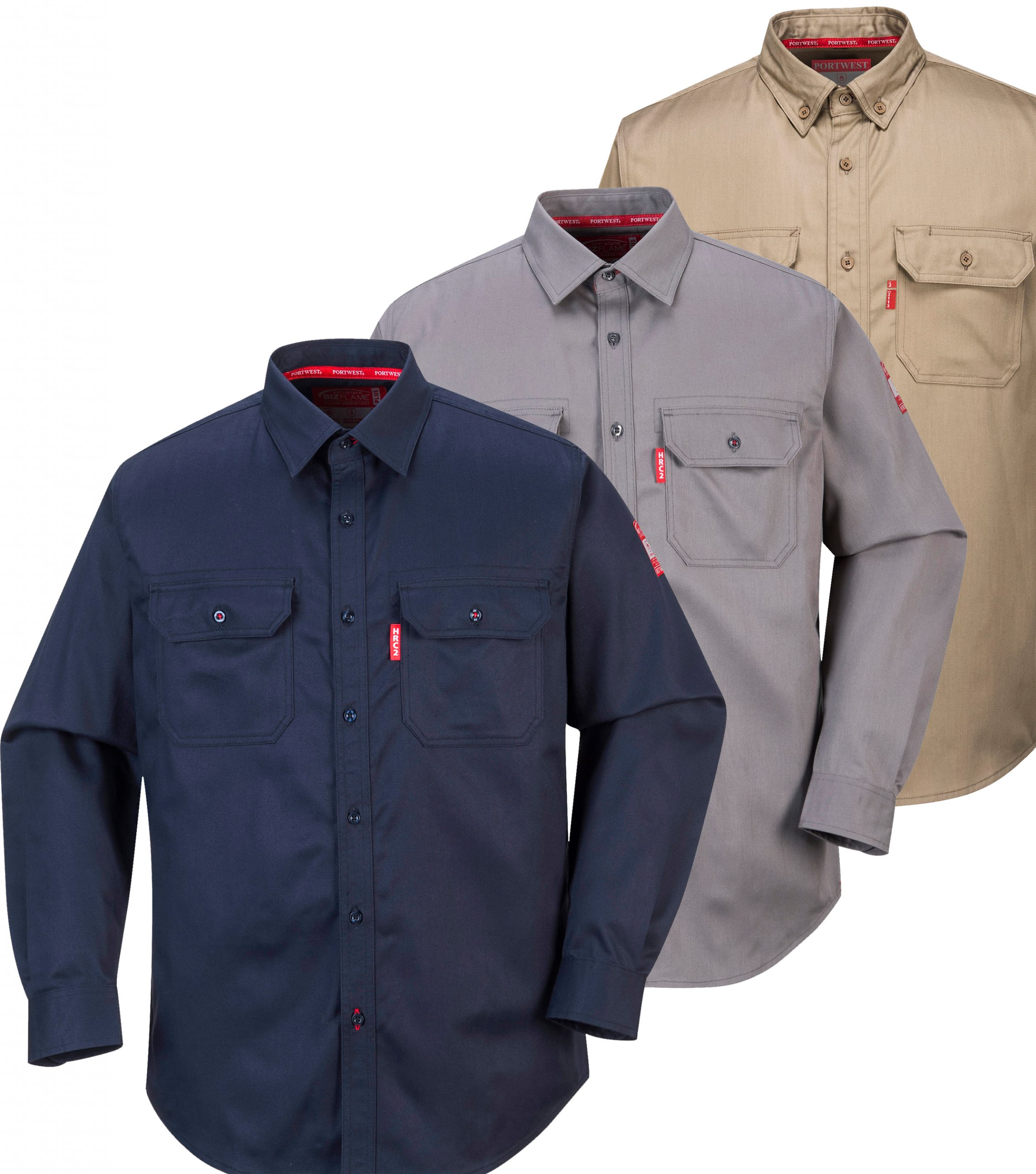 Portwest FR02 Bizflame Fire Resistant Henley Safety Long Sleeved T Shirt ASTM
