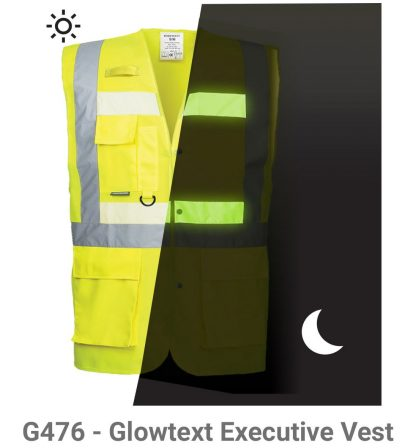 Portwest G4786 Glowtex 3-in-1 High Visibility Safety Vest, ANSI Type R Class 2, Glow in the dark