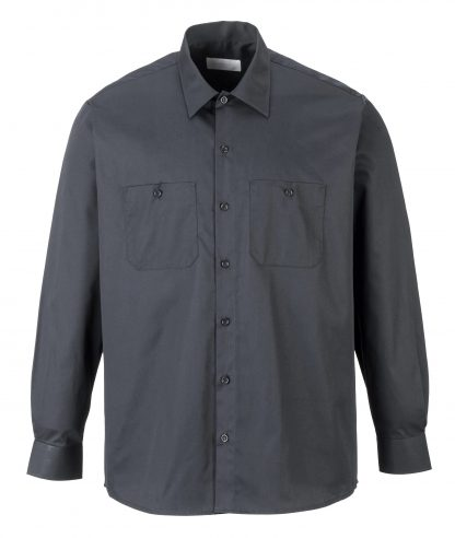 Portwest S125 Industrial Long Sleeve Work Shirt, Gray, Front