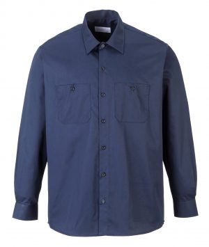 Portwest S125 Industrial Long Sleeve Work Shirt, Navy, Front