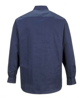 Portwest S125 Industrial Long Sleeve Work Shirt, Navy, Rear