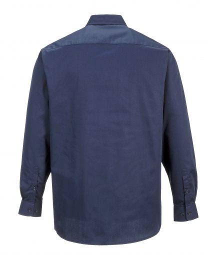 Portwest S125 Industrial Long Sleeve Work Shirt, Navy, Rear
