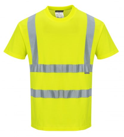 Portwest S170 High Visibility Cotton T-shirt w/ Reflective Tape, front