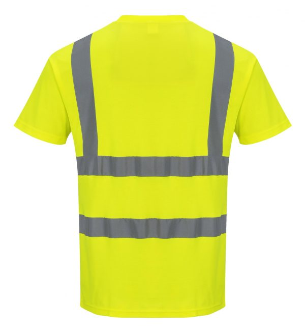 Portwest S170 High Visibility Cotton T-shirt w/ Reflective Tape, rear