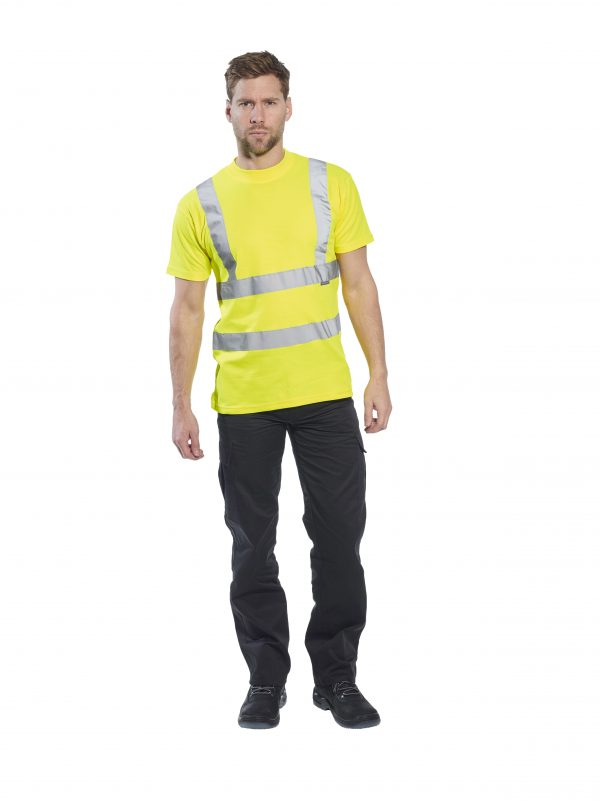 Portwest S170 High Visibility Cotton T-shirt w/ Reflective Tape, onbody, 3