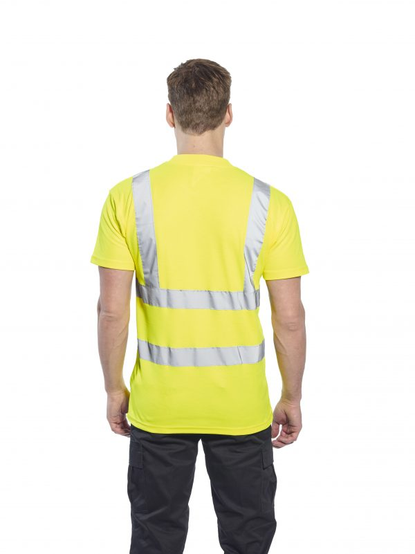 Portwest S170 High Visibility Cotton T-shirt w/ Reflective Tape, onbody, rear