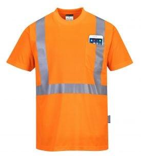 Portwest s190 High visibility t-shirt w/ pocket, orange, Front