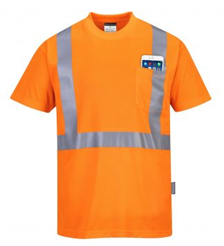 Portwest s190 High visibility t-shirt w/ pocket, orange, Front
