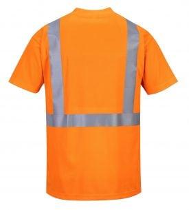 Portwest s190 High visibility t-shirt w/ pocket, orange, Rear