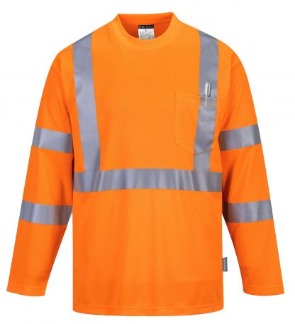 Portwest S191 High Visibility Long Sleeve T-shirt w/ Pocket * Reflective Tape, Orange, Front