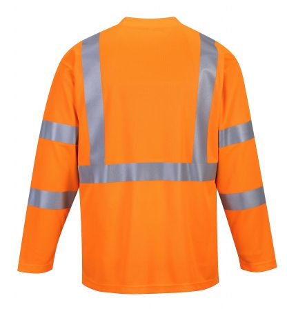Portwest S191 High Visibility Long Sleeve T-shirt w/ Pocket * Reflective Tape, Orange, Rear