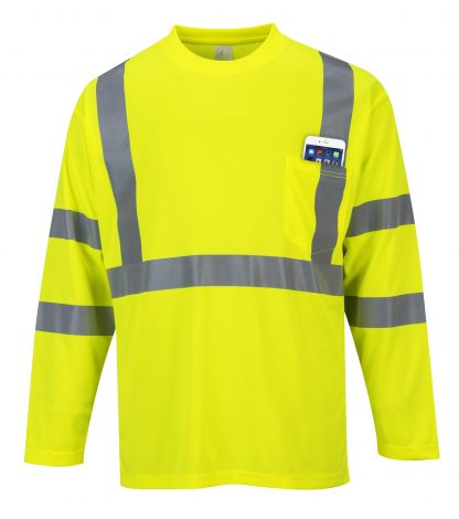 Portwest S191 High Visibility Long Sleeve T-shirt w/ Pocket * Reflective Tape, Yellow, Front