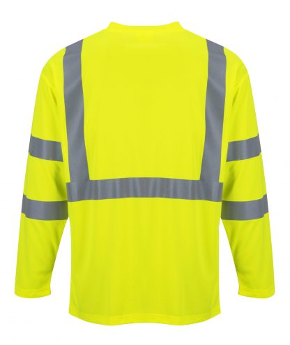 Portwest S191 High Visibility Long Sleeve T-shirt w/ Pocket * Reflective Tape, Yellow, Rear