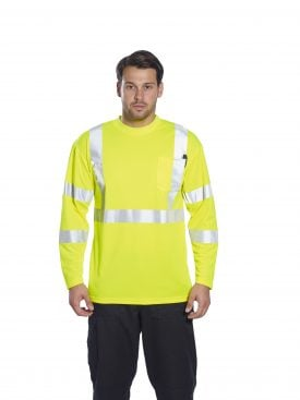 Portwest S191 High Visibility Long Sleeve T-shirt w/ Pocket * Reflective Tape, Yellow, On body 2