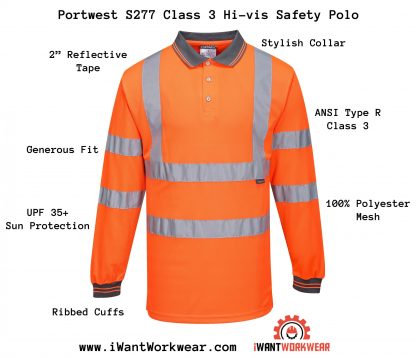 Portwest S277 High Visibility Safety Polo, Class 3, Orange, Infographic, Iwanworkwear