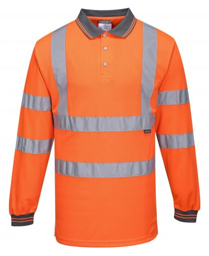 Portwest S277 High Visibility Long Sleeve Safety Polo, Orange, Front