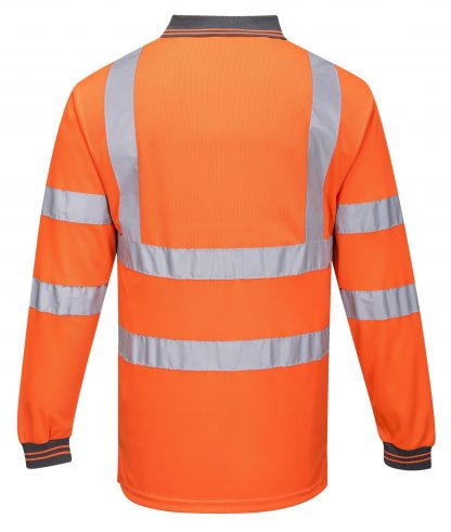 Portwest S277 High Visibility Long Sleeve Safety Polo, Orange, Rear